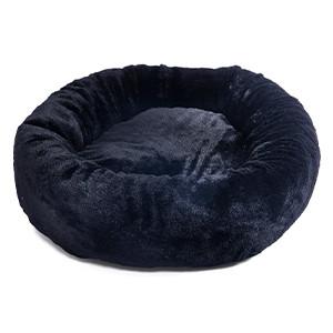 fluffig hundbädd donut svart ø60