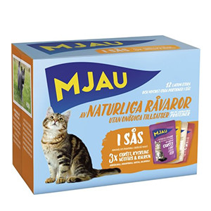 Mjau multibox – våtfoder 12 portionspåsar bitar i sås med köttsmak