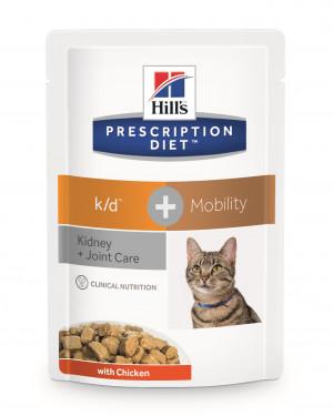 Hills PD k/d + Mobility Feline Pouch, Kyckling, 12x85 gr